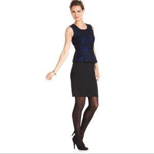 Alfani Blue and Black Lace Peplum Dress